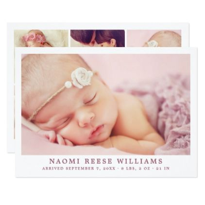 Baby Girl Birth Announcement Card Photo Collage Various