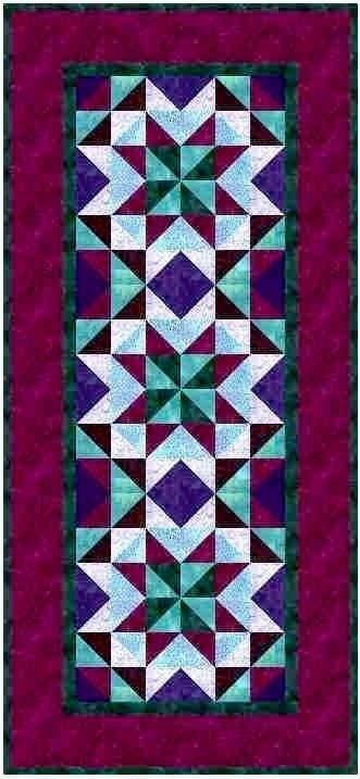 Twist Around The Table Purple And Teal Table Runner Quilt Kit Jinny Beyer Quilted Table Runners Summer Table Runner Quilts