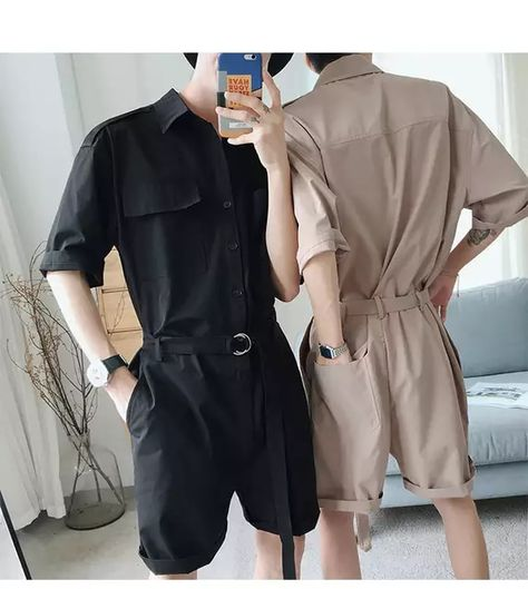 Summer hip hop Short Sleeve Rompers Male Loose Tooling Jumpsuit Cotton Punk baggy Overalls Men Street dancing bib pants Overalls from Men's Clothing & Accessories on Dance Outfits, Cool Outfits, Romper Men, Korean Fashion Men, Men Fashion, Androgynous Fashion, Men Street, Korean Outfits, Aesthetic Clothes