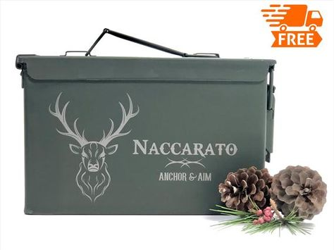 Hunting Gifts For Men Ammo Box Storage Deer Antlers New Personalized