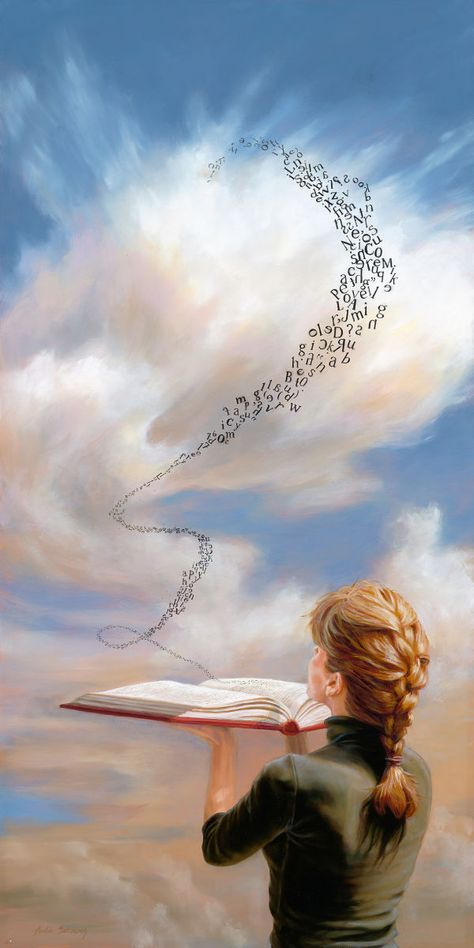 """12"""" X 24"""", Oil on panelWoman blowing letters from book"""
