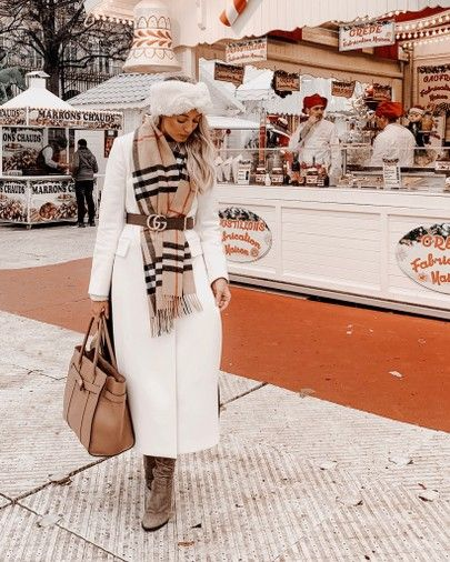 Paris outfit! How I styled my white coat with a Burberry scarf and Gucci belt http://liketk.it/2yC9V #liketkit @liketoknow.it #LTKholidaywishlist #LTKholidaystyle