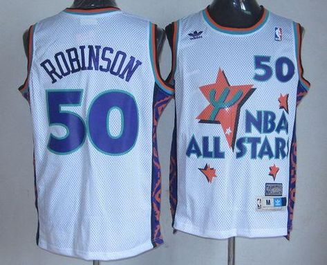 bf03708e9 Spurs  50 David Robinson White 1995 All Star Throwback Stitched NBA Jersey