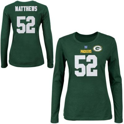 Womens Green Bay Packers Clay Matthews Majestic Green Fair Catch V Name and  Number Long Sleeve T-Shirt f152b1feb