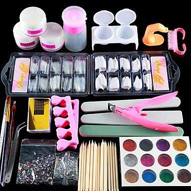 Acrylic Nail Art Kit Manicure Set 12 Colors Nail Glitter Powder Decoration Acrylic Pen Brush Nail Art Tool Kit For In 2020 Acrylic Nail Kit Nail Art Tool Kit Nail Kit