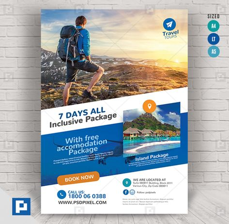 Travel and Tours Promo Flyer - PSDPixel