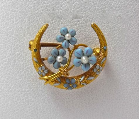 ART NOUVEAU 14K GOLD ENAMEL TURQUOISE SEED PEARL DAISY CRESCENT MOON BROOCH