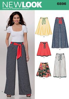 New Look 6896 from New Look patterns is a Misses Pants and Skirts sewing pattern