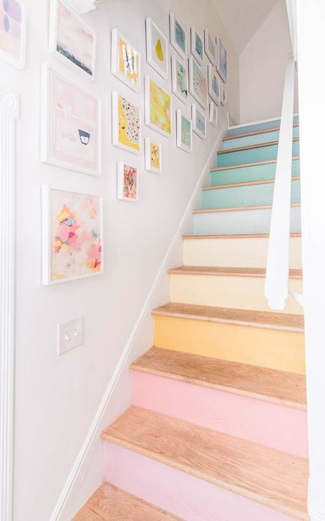 Want some simple tips on how to hang a modern gallery wall up your staircase in your home? I have ideas on how to hang pictures for the perfect layout and display. Plus pretty pictures of this rainbow gallery wall! Deco Pastel, Pastel Room, Rainbow Images, Modern Gallery Wall, Pastel Interior, Interior Ideas, Interior Design, Painted Stairs, Home And Deco
