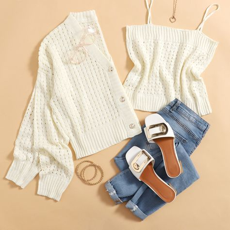 Drop Shoulder Buttoned Open Knit Cardigan With Cami