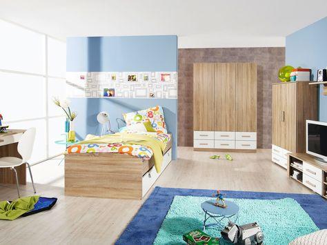 SAMIA Umbauliege Eiche Sonoma alpinweiß mit 3 Schubkästen - jugendzimmer komplett poco awesome design
