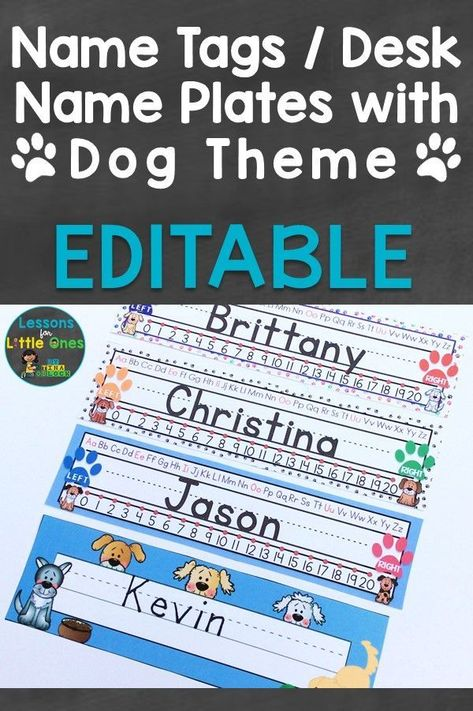 """These editable name tags and longer desk name plates are """"paws"""" itively great for your dog theme Includes 10 different dog name tags and 4 different dog"""