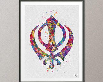 Ek Onkar Watercolor Print Poster Wall Decor Art Khanda Wall Decor Art Sikh Art