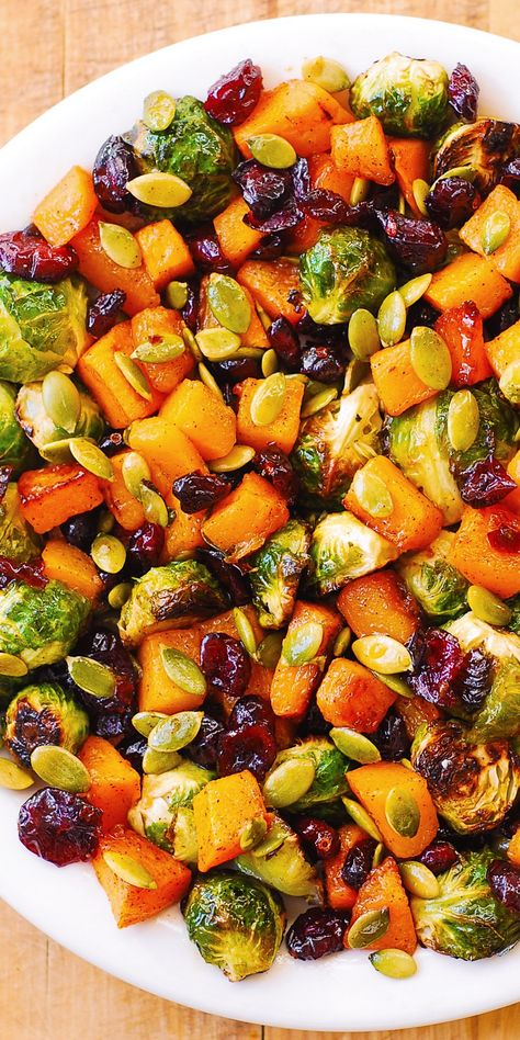 Frugal Food Items - How To Prepare Dinner And Luxuriate In Delightful Meals Without Having Shelling Out A Fortune Salad: Butternut Squash, Brussels Sprouts, Pumpkin Seeds, Cranberries Brussel Sprout Salad, Brussels Sprouts, Sprouts Salad, Roasted Sprouts, Brussel Sprouts Cranberries, Healthy Brussel Sprout Recipes, Roasted Winter Vegetables, Roasted Vegetable Recipes, Cooking Vegetables