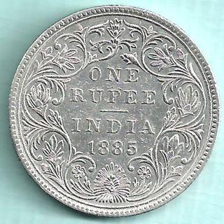 British India 1885 Victoria Empress Calcutta One Rupee Rare Coin Photo Rare Coins Coins India