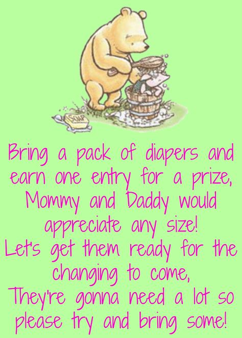 Lauren's baby shower. Classic pooh. Mint green and pink. Diaper raffle poem.