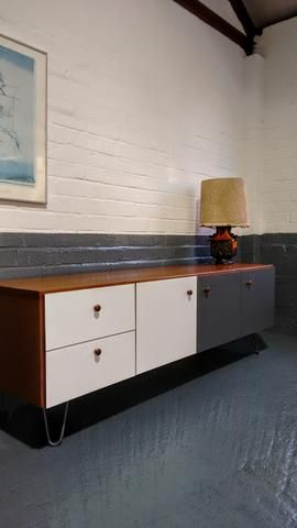 Morris Of Glasgow Sideboard On Hairpin Legs With Laminate Doors Drawers White Paneling Mid Century Sideboard Laminate Doors