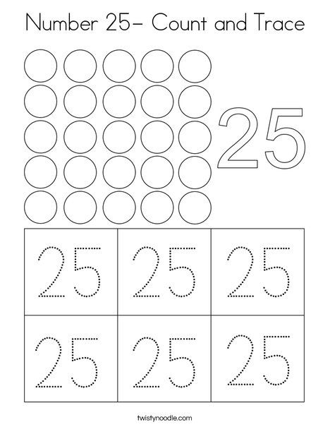 Number 25 Count And Trace Coloring Page Twisty Noodle Kindergarten Worksheets Handwriting Worksheets For Kindergarten Kindergarten Math Worksheets