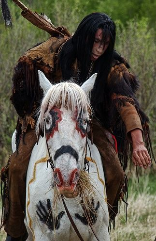 The history of decorating horses. Native American Indians even painted their horses and ponies decorating them with with war symbols or symbols of power before they went into battle re-pin