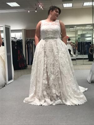 Lace Plus Size Wedding Dress With Pleated Skirt David S Bridal Plus Size Wedding Dress Short Wedding Dresses Short Wedding Dress