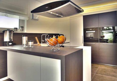 Küche Bar Tresen Küchenblock Holz LED Lampen Herd Ofen