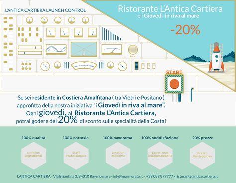 """Sei residente in Costiera Amalfitana? Abbiamo lanciato l' inziativa """"i Giovedì in riva al mare"""" Ogni giovedì, al Ristorante L'Antica Cartiera, potrai godere del 20% di sconto sulle specialità della Costa! #amalfi, #ravello — presso Ristorante L'Antica Cartiera."""
