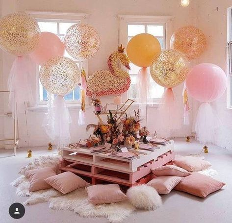 A magical swan princess party by featuring out enchanting signature tulle balloons Sleepover Birthday Parties, Baby Birthday, Birthday Party Themes, Adult Slumber Party, Birthday Ideas For Girls, Slumber Party Ideas, Bachelorette Slumber Parties, Toddler Tea Party, Kids Spa Party