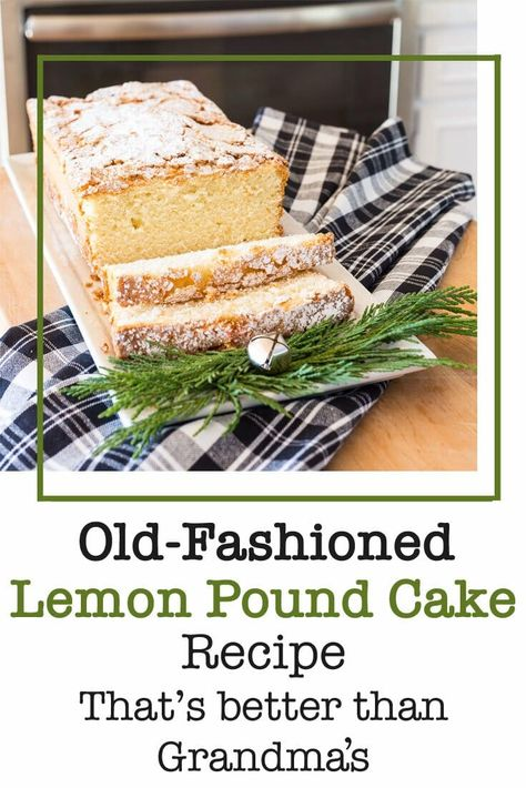Old Fashioned Lemon Pound Cake recipe that is better than grandmas. It can be made with or without lemon flavoring and makes a great baked gift to take to a holiday party as a hostess gift. #lemonpoundcake #recipe #poundcake #poundcakerecipe #hostessfoodgifts #holidaycakes