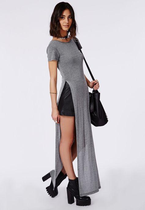9b97b349ea20 Split Side Short Sleeve Ribbed Midi T-Shirt Dress Grey Marl - Dresses - Maxi  Dresses - Missguided