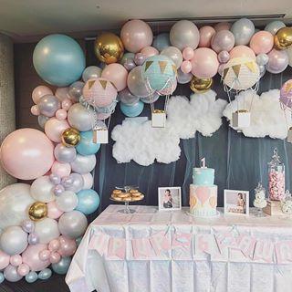 Pretty Pastel Hot Air Balloon Theme By Balloonsbydina Hotairb Hot Air Balloon Party Decorations Hot Air Ballon Baby Shower Hot Air Balloon Party Theme