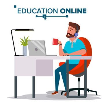 Education Online Vector Home Online Education Service Young Man In Headphones Working With Computer Modern Learning Isolated Flat Cartoon Illustration Educati Education Logo Design Education Logo Education Clipart
