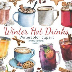 Valentine Coffee Hand Drawn Digital Clipart Set Of 20 Etsy In 2021 Winter Drinks Watercolor Cookies Watercolor Coffee
