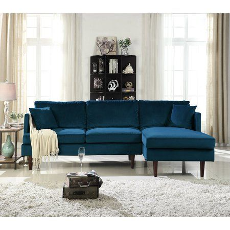 Mid Century Brush Microfiber Sectional With Wide Chaise Lounge Hazelnut Walmart Com Blue Sofas Living Room Sectional Sofa With Chaise Microfiber Sectional Sofa