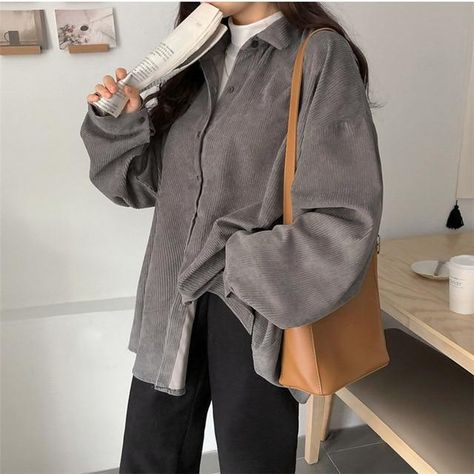 BF STYLE CORDUROY SHIRT - Gray / One Size