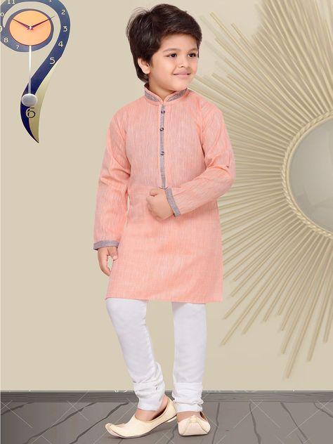 Peach Cotton Silk Kurta Suit