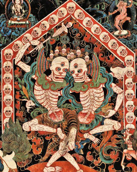 Lord and Lady of the Cemetery (Citipati), late century, Nechung Chapel. Tibet Photograph by Thomas Laird from Tibetan Murals (Taschen) 8bit Art, Tibetan Art, Tibetan Buddhism, Tibetan Tattoo, Susanoo, Thai Art, Art Brut, Hindu Art, Buddhist Art
