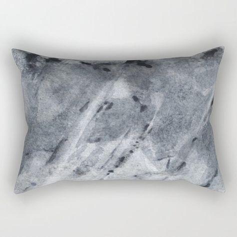 Decorative Pillow Cover With Fine Art Print Grey Rectangular