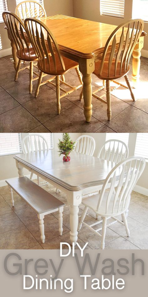 Tips and my process for staining and then painting my dining table and chairs. How to grey paint wash furniture and poly seal it. Dining table makeover. Yellow oak dining table and chairs to farmhouse dining table with chairs and bench. White paint with grey paint wash. Before and after pictures are insane!