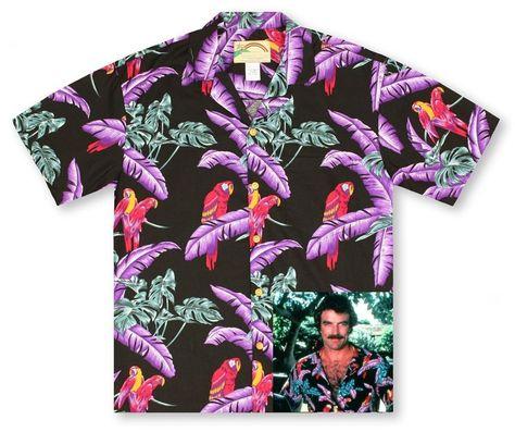 6d7b486b Details about Men's Black Jungle Bird Rayon Aloha Shirt a Magnum PI Design  #PF-JB | Great Things For Sale