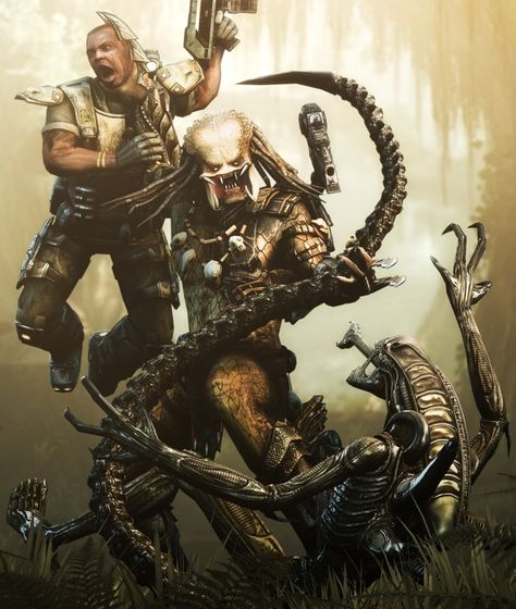 The Predator struggles with a Colonial Marine and Xenomorph