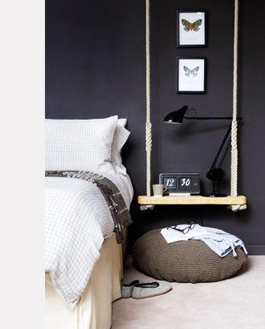 Deco Chambre Noir Et Blanc Et Gris Idees Chic Bedside Table
