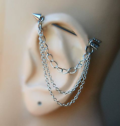 Arrow Industrial Barbell Ear Piercing-Earring Jewelry-Dangle Silver Chains-Surgical G Gauge-Dangle Chains Industrial Earrings, Industrial Piercing Jewelry, Industrial Barbell, Industrial Bars, Ear Jewelry, Cute Jewelry, Body Jewelry, Diamond Jewelry, Unique Jewelry