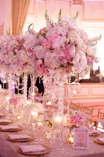 Tall White Wedding Centerpieces, Roses & Hydrangeas with Crystals ...