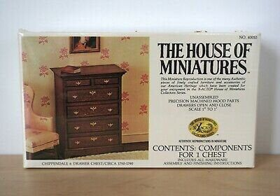 The House Of Miniatures Chippendale Chest on Chest Dollhouse Furniture Kit 40009