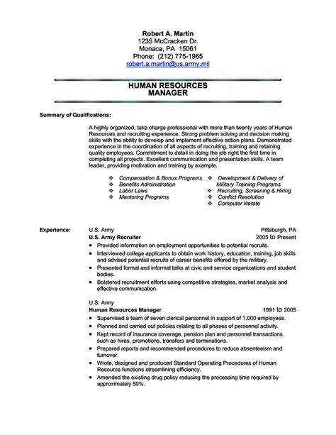Human Resources (Military Transition) Resume Sample Freedom - human resource recruiters resume