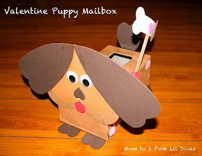 Puppy Valentine's Day mailbox from tissue box