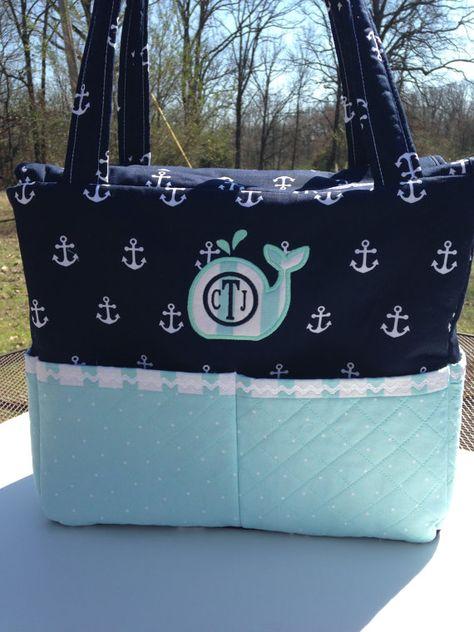 Custom Nautical Diaper Bag with Whale applique by CraftyJuJu