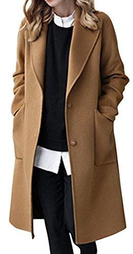 913a91c53ded SYTX-women clothes SYTX Womens Winter Plus Size Lapel Solid Color Long Wool  Blend Pea Coat Overcoat