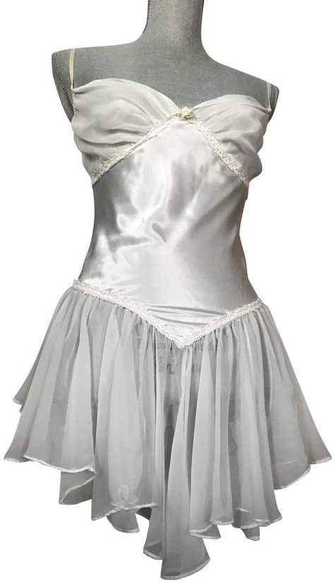 White Satin and See Through Babydoll Short Night Out Dress Size 12 (L) Fashion Beauty, Luxury Fashion, Fairytale Fashion, Vintage Nightgown, Pretty Lingerie, Night Gown, Everyday Fashion, Cute Outfits, Style Inspiration