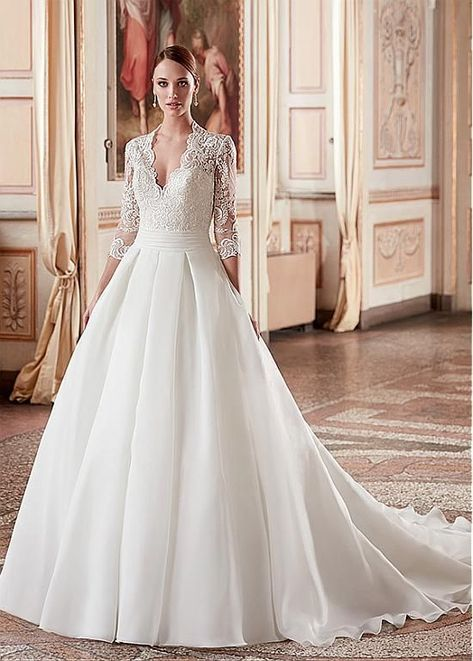 d0a5ef7f0f3f0 Magbridal Attractive Tulle & Satin V-Neck A-Line Wedding Dresses With Lace  Appliques - #Aline #Appliques #Attractive #DRESSES #Lace #Magbridal #Satin # Tulle ...